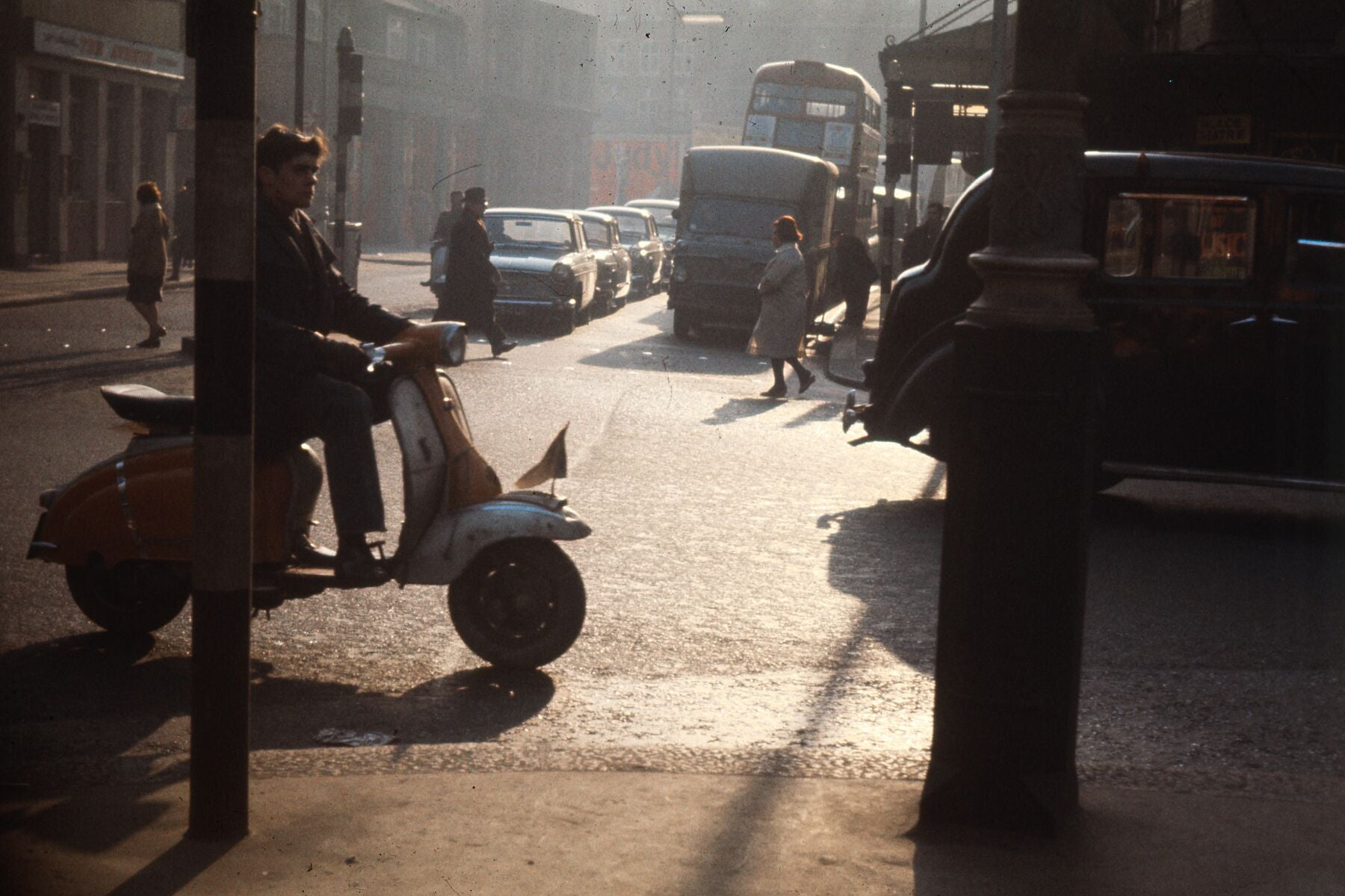 Man on Moped in London by Bob Hyde - c. 1963
