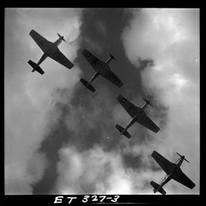 Four P-51 Mustangs Flying in formation by Toni Frissell - March 1945