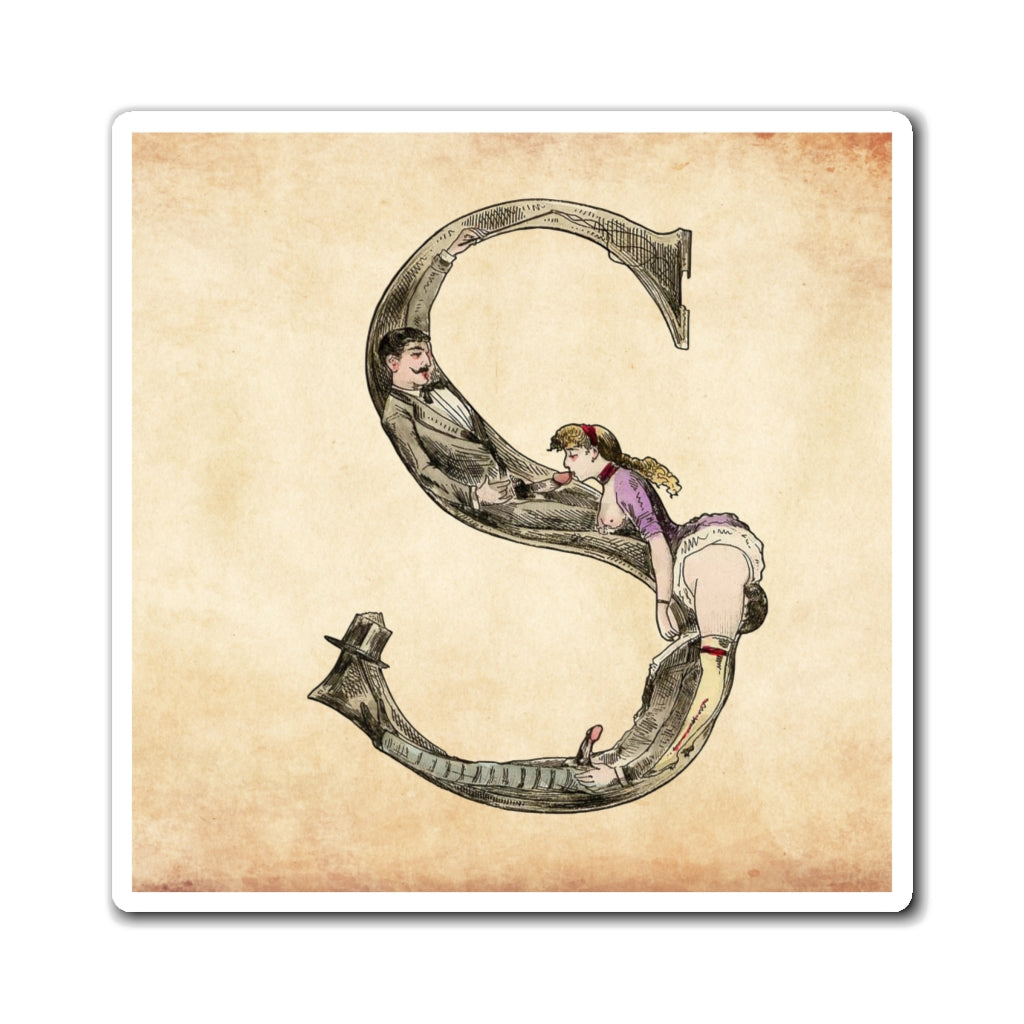 Magnet featuring the letter S from the Erotic Alphabet, 1880, by French artist Joseph Apoux (1846-1910).