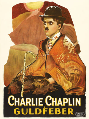 Poster featuring Charlie Chaplin Guldfeber (The Gold Rush) - a 1925 American comedy film written, produced, and directed by Charlie Chaplin.