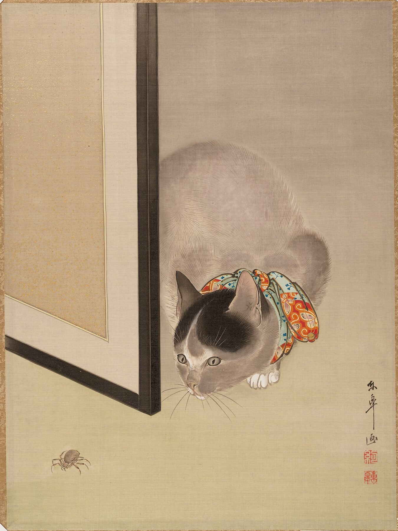 Cat Watching a Spider Oide Tōkō - ca. 1888–92