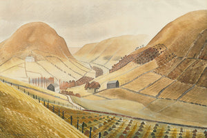 Eric Ravilious (1903-1942) : Corn Stooks and Farmsteads - Hill Farm, Capel-yffin, Wales 1939.