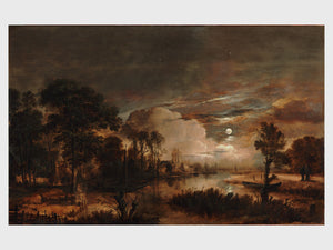 Moonlit Landscape with a View of the New Amstel River by Aert van der Neer - 1647
