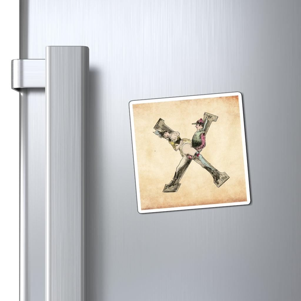Magnet featuring the letter X from the Erotic Alphabet, 1880, by French artist Joseph Apoux (1846-1910).