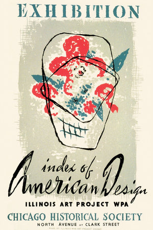 WPA Art Project poster for an exhibit: Index of American Design, Chicago Historical Society 1941