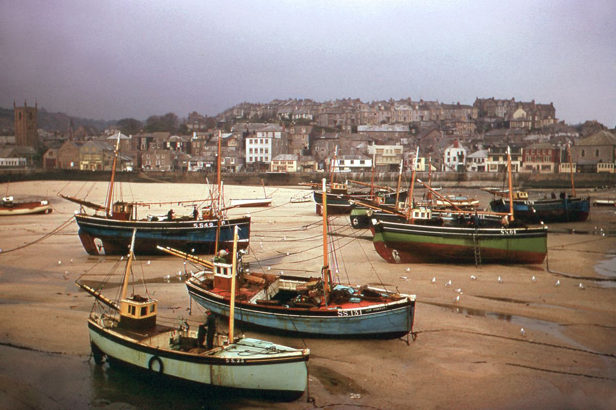 Fishing Boats at St Ives by Hardwicke Knight - c.1955