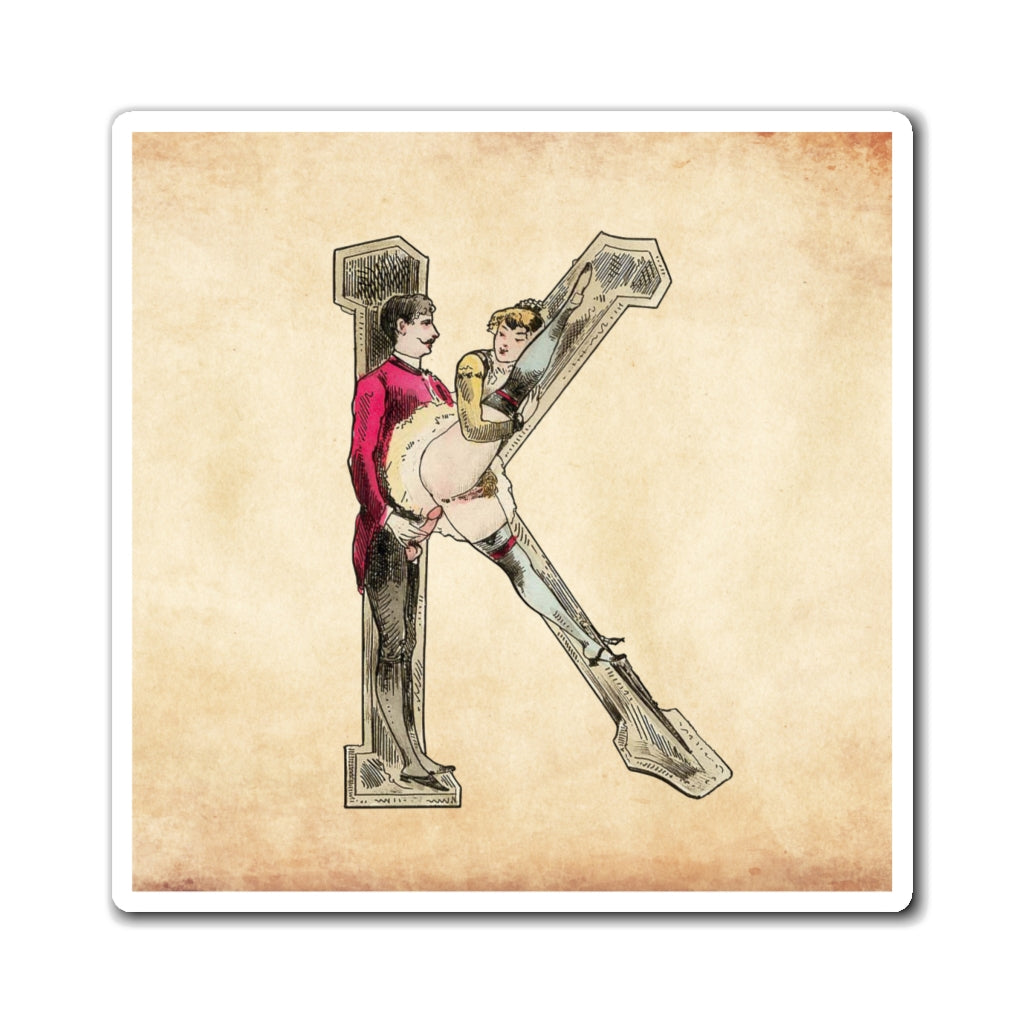 Magnet featuring the letter K from the Erotic Alphabet, 1880, by French artist Joseph Apoux (1846-1910).