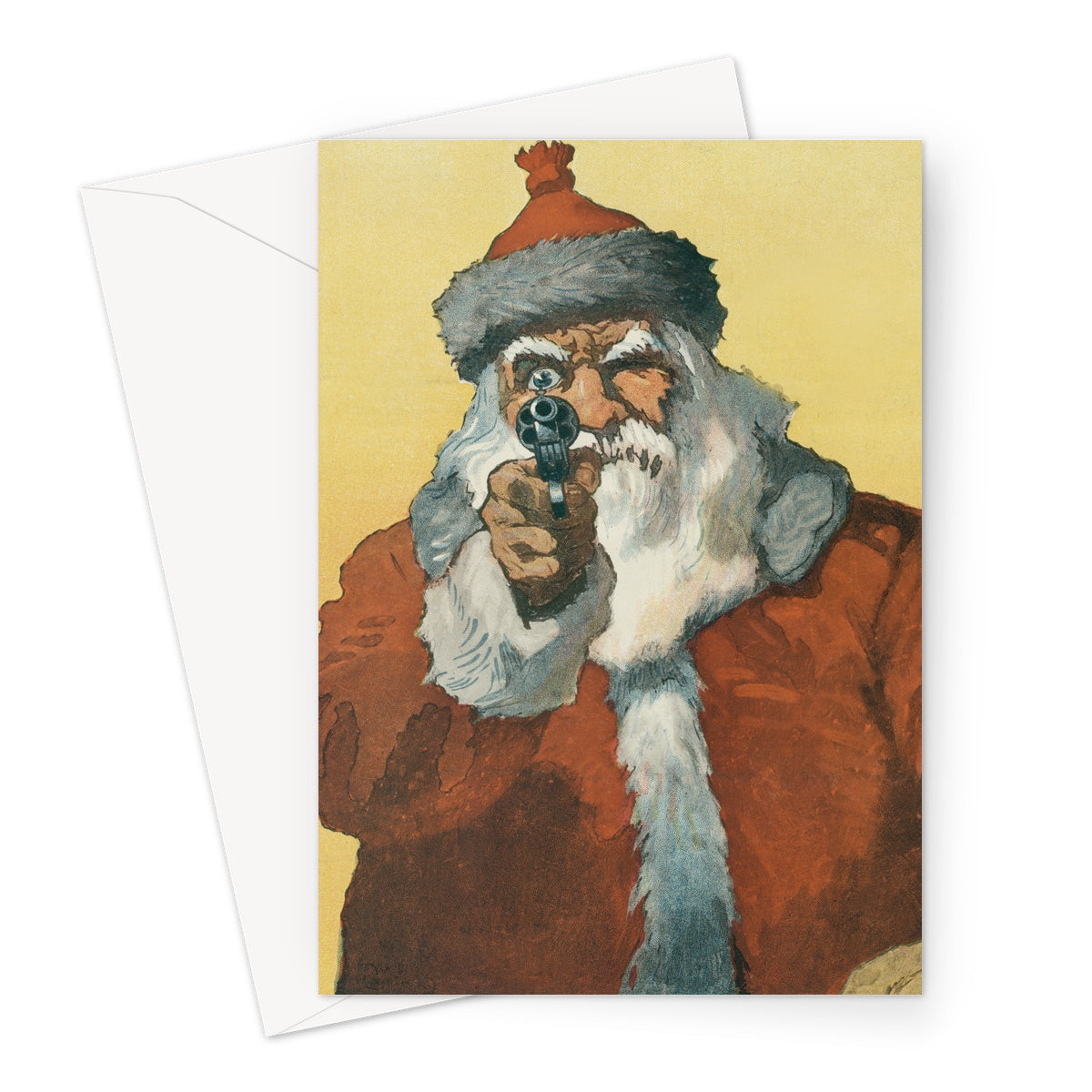 Santa Claus With a Handgun by Will Crawford - 1912, Greeting Card