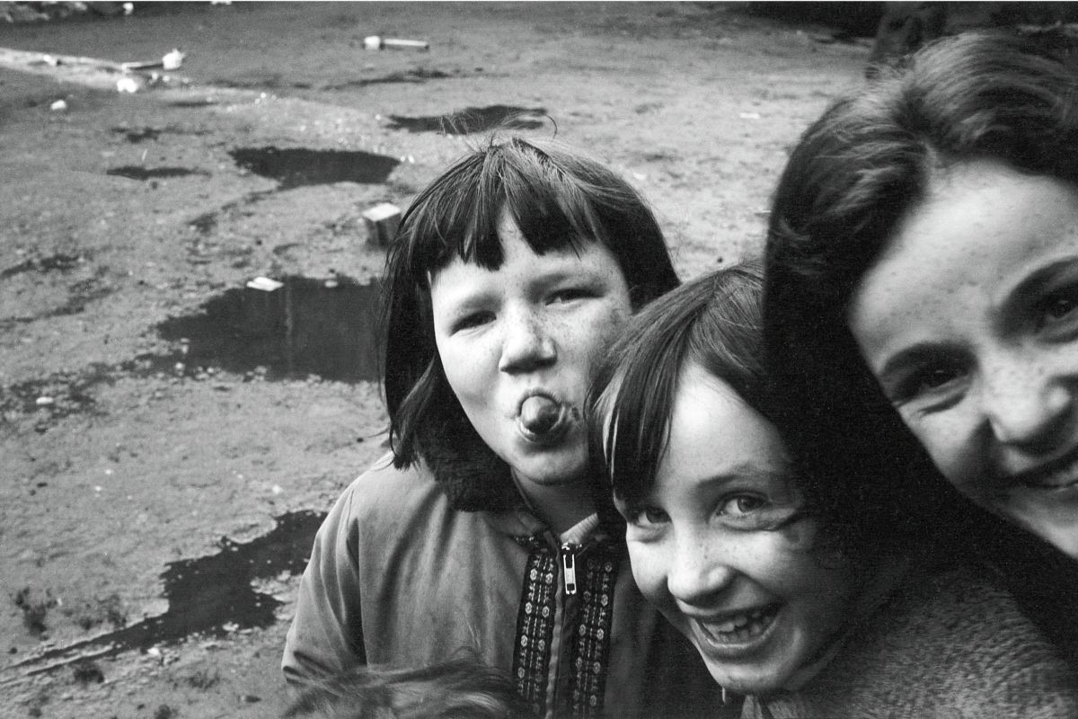 Three Girls Playing In Glasgow by John J Brady - 1975