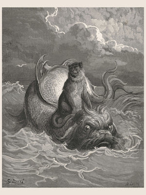 The Monkey and The Dolphin by Gustave Doré - 1885