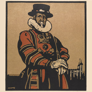 London Types : Beefeater by William Nicholson - 1898.  Printmaker William Nicholson worked in partnership with his brother-in-law James Pryde, under the pseudonym the Beggarstaf Brothers.