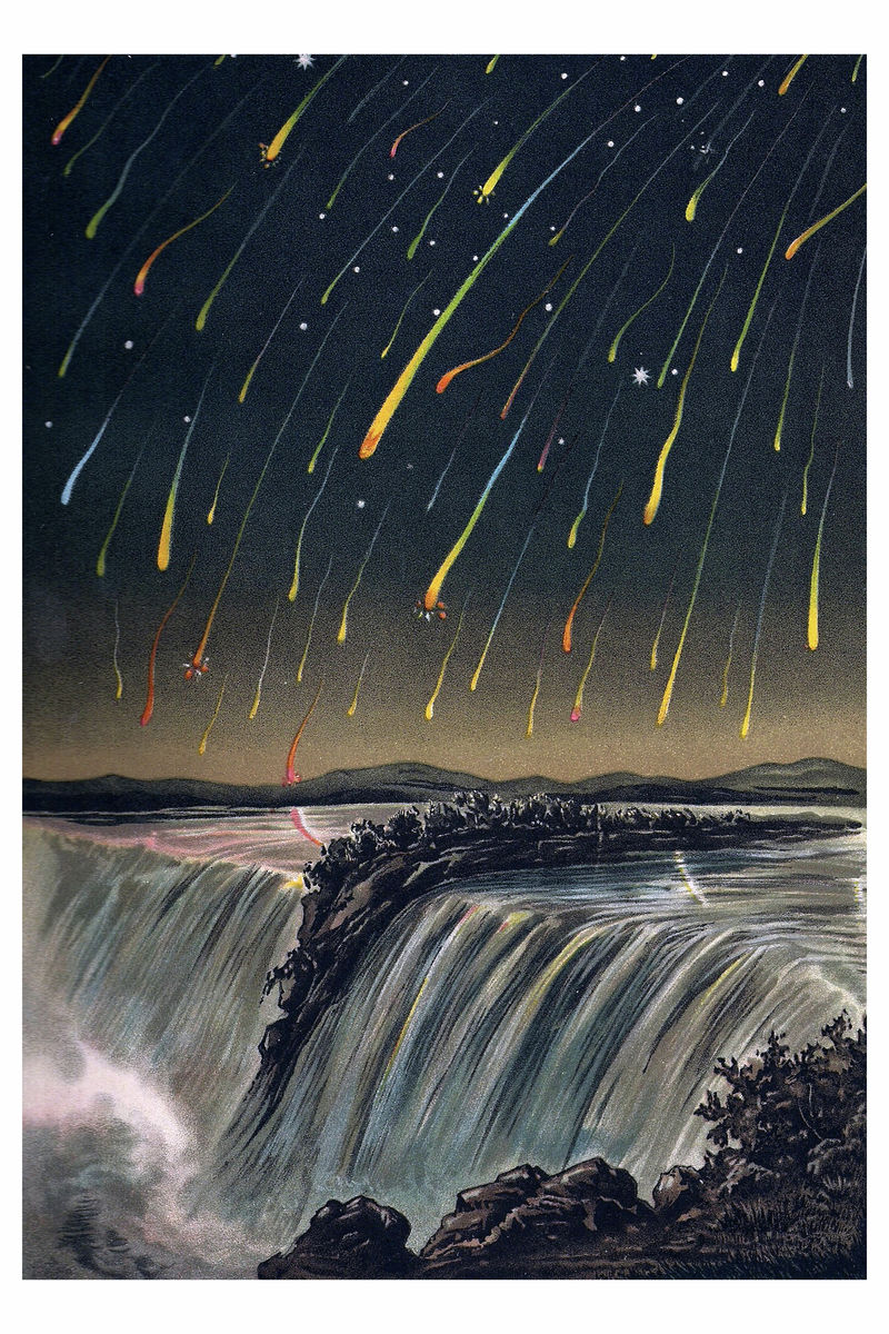Leonid Meteor Shower Over Niagara Falls -1892