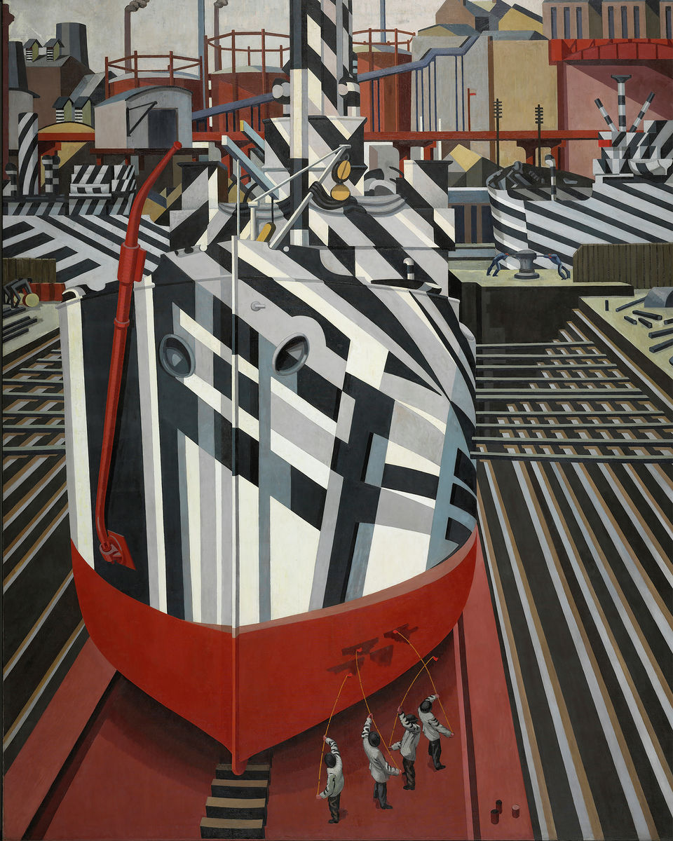 Dazzle Ships in Drydock at Liverpool by Edward Wadsworth - 1919