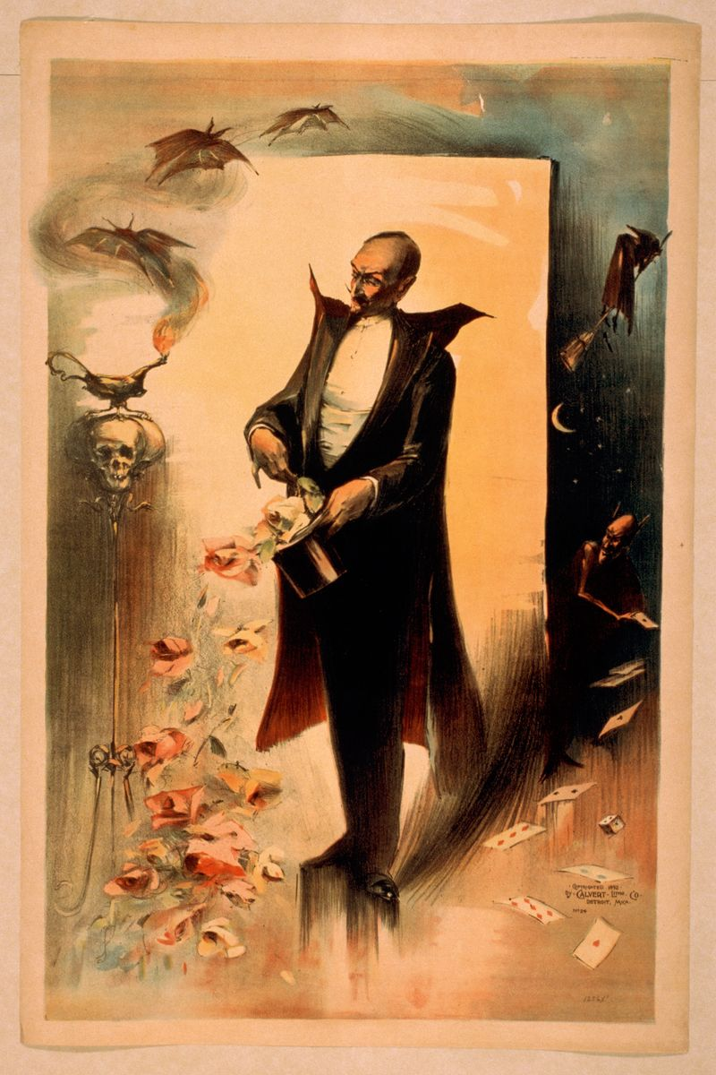 Magician Pulling Roses Out of Top Hat Surrounded by Supernatural Beings