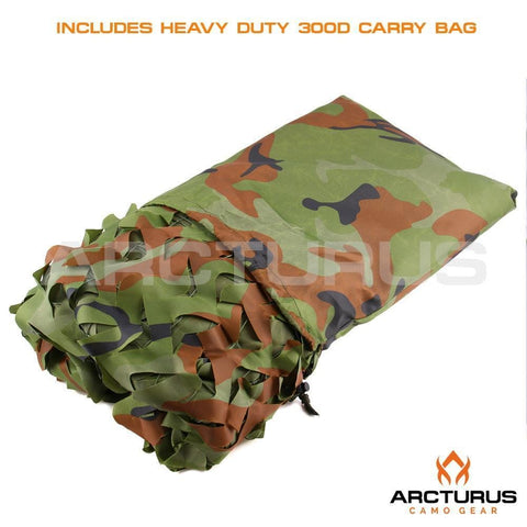 Arcturus Woodland Camo Netting with Mesh Support Grid
