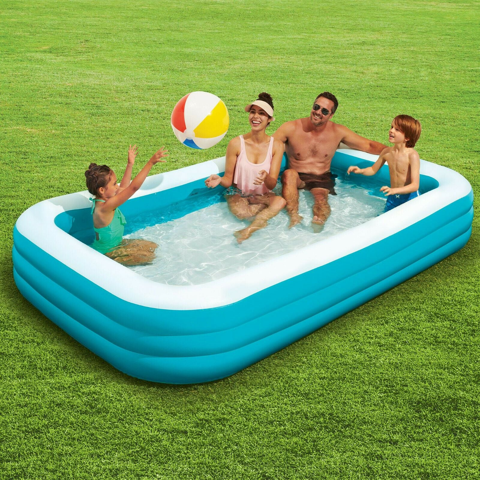 Inflatable Swimming Pool Large 10 Feet Wide for Family Adults and Kids - 10' x 6' x 1.9'