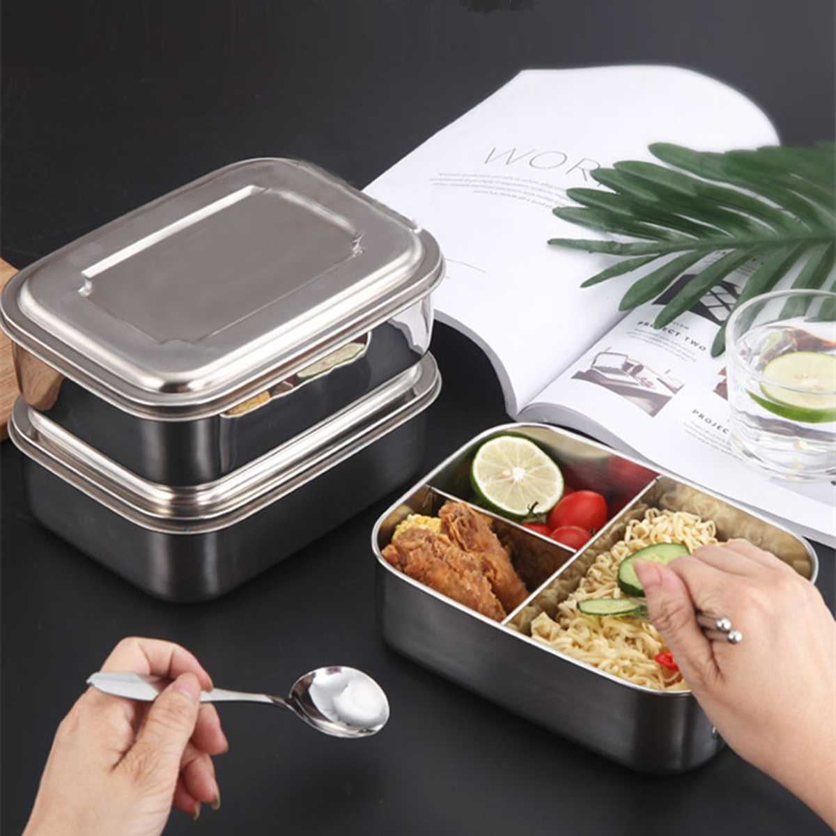Bento Box Stainless Steel Lunch Container Three Section Design