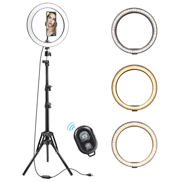 "Ring Light 10.2"" With Phone Clip - Selfie Tripod LED Light Ring With Bluetooth Remote"