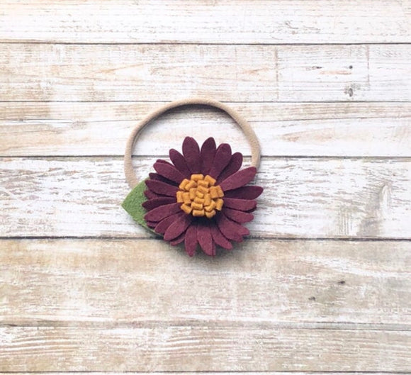 Burgundy Flower Headband