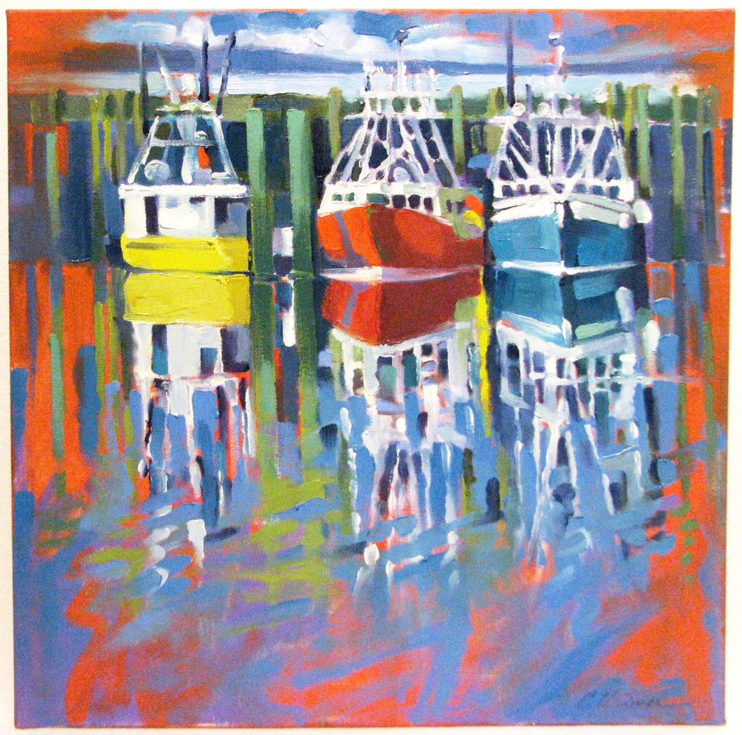 Autumn Fleet, oil on canvas painting of harbor in Digby, NS. Artist Cyndie Widmer