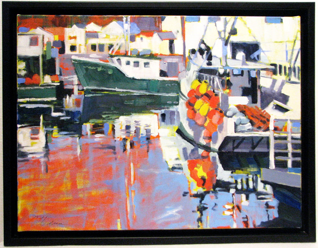 Digby Harbour, oil on canvas painting of Digby, NS harbour. Artist Cyndie Widmer