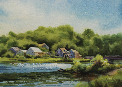 Village At High Tide, artist Poppy Balser, Digby, Nova Scotia