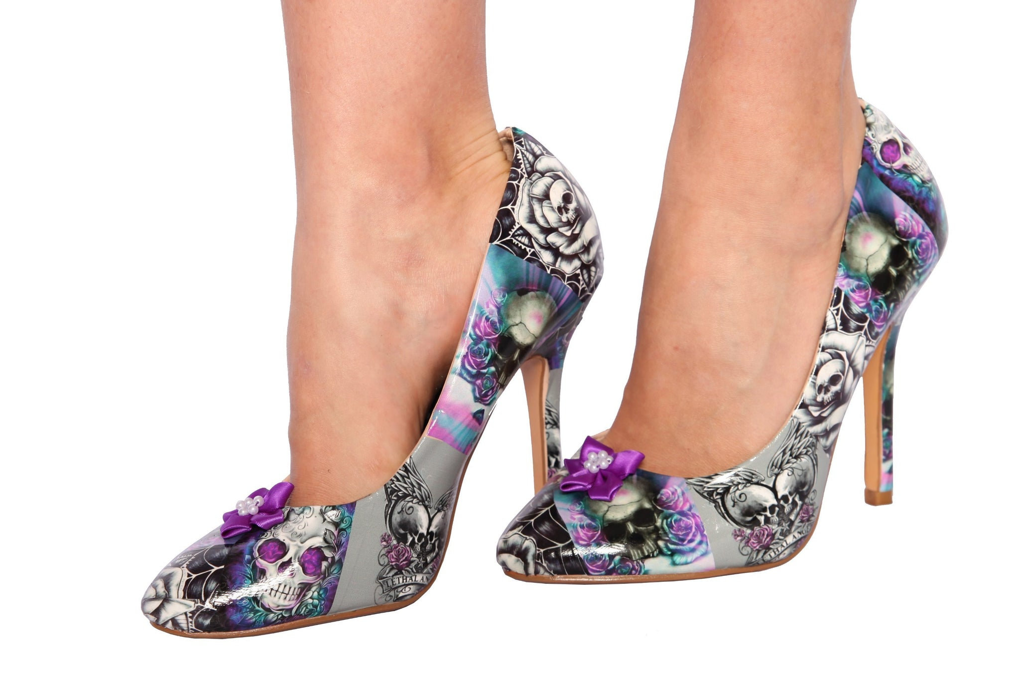 Custom Tattoo Purple Skull Heels