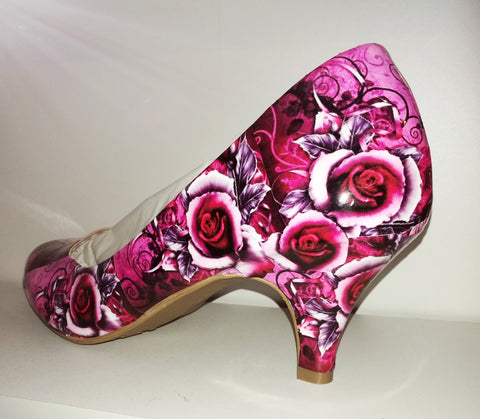 Rose Print Alternative Wedding Shoes