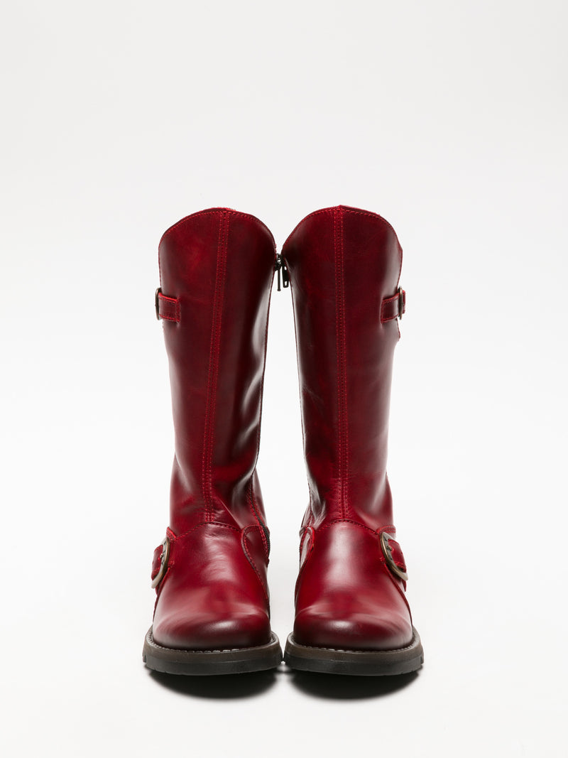 Fly London Botas con Hebilla en color Rojo