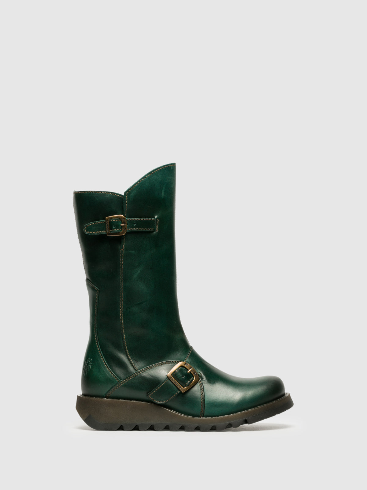 Fly London Botas con Hebilla en color Verde