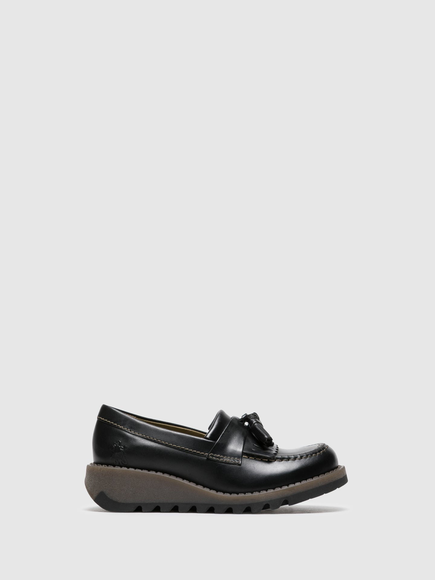Fly London Zapatos Loafers en color Negro Grafito