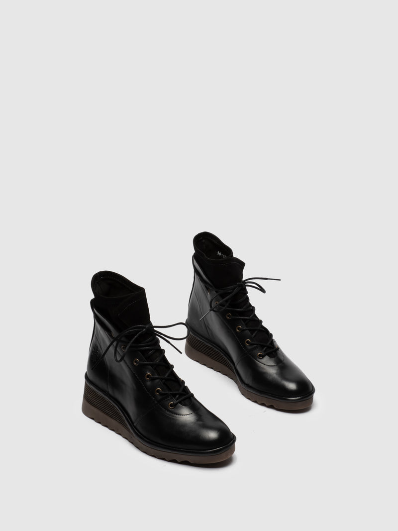 Fly London Botines con Cordones en color Negro
