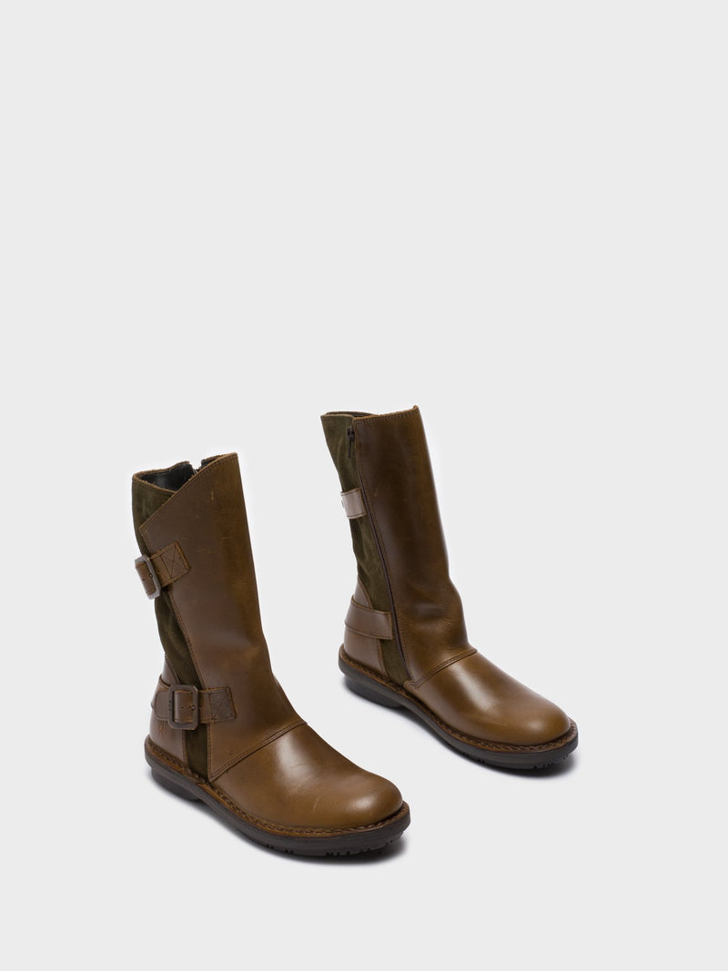 Fly London Botas con Cierre en color Oliva