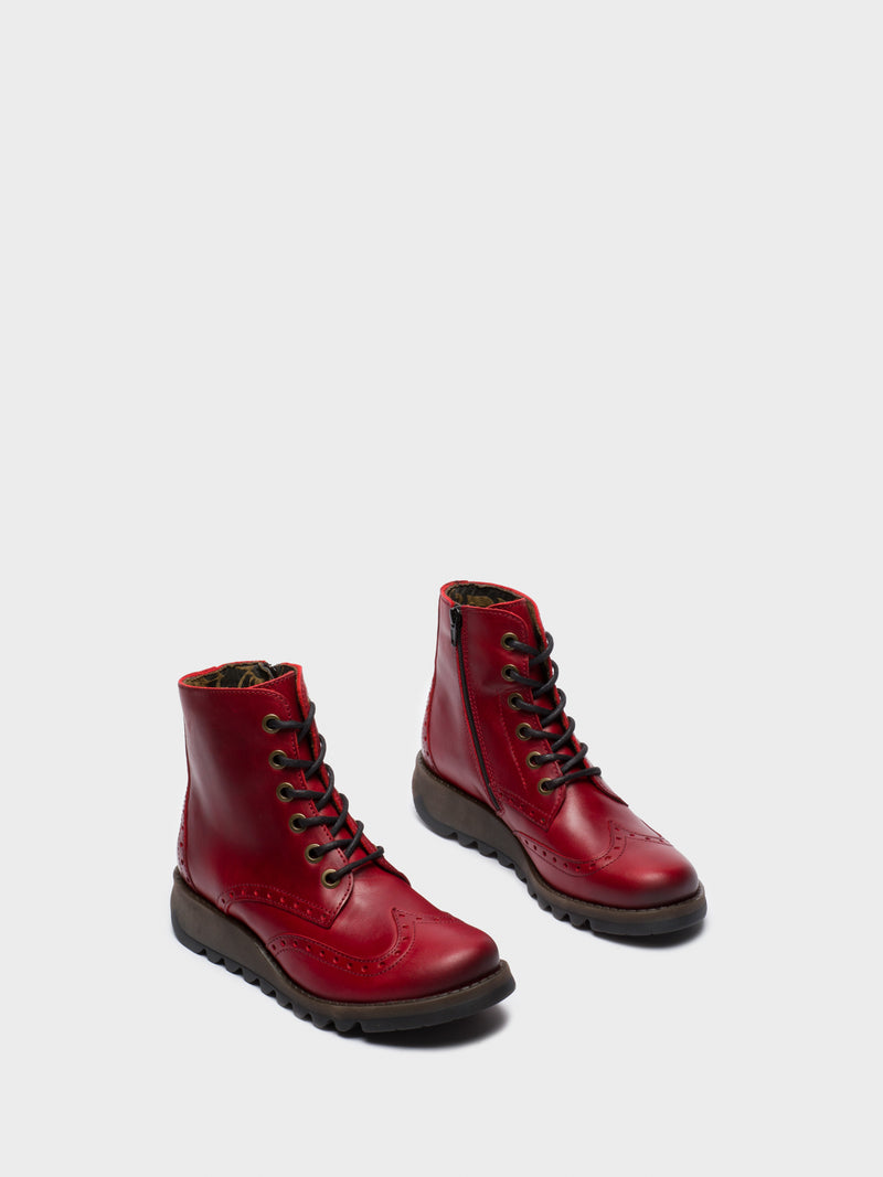 Fly London Botines con Cordones en color Rojo