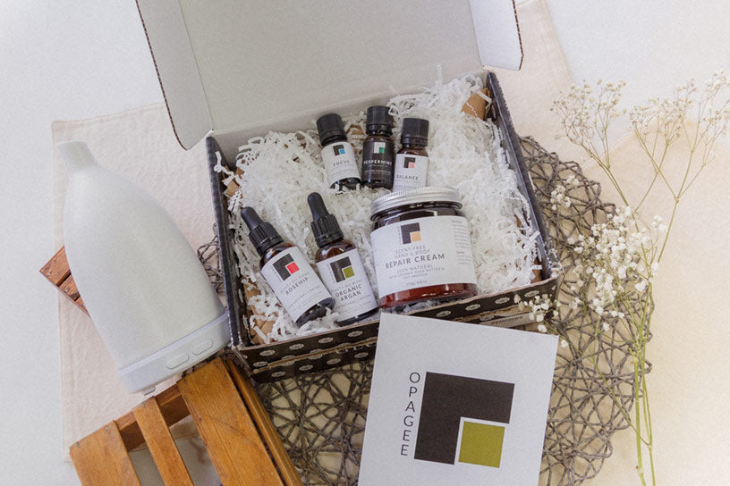 Opagee Skin Care & Aromatherapy Shipping Box Example
