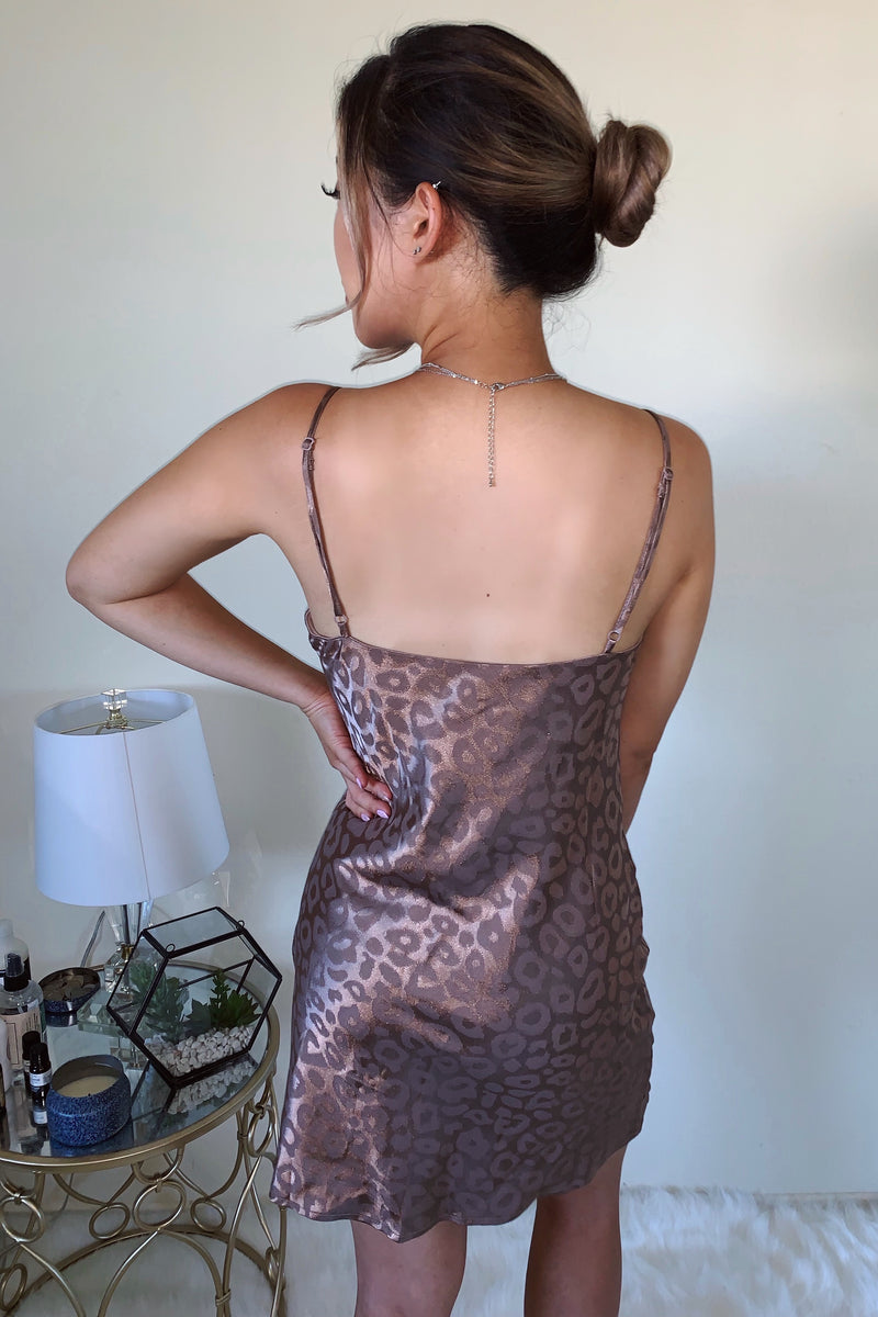 The Camila Leopard Mini Cowl Slip Dress