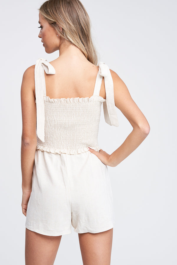 The Isabella Woven Tie Romper