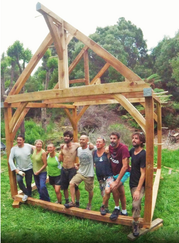 The team celebrate a beautiful result - a 10m2 greenwood timber frame