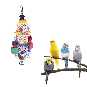 Pet Products Wooden Metal Pet Bird Toys Parrot Biting Gnawing Bell Ring Pet Playing Chewing Climbing Swing Toys Chirstmas Parrot Toy New Varieties Are Introduced One After Another