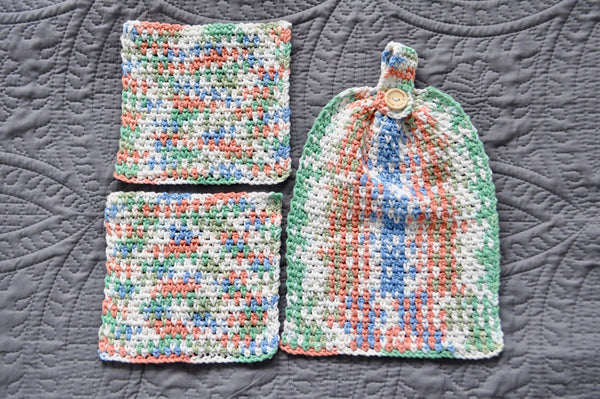 Handmade Crochet Cotton Kitchen Towel Set