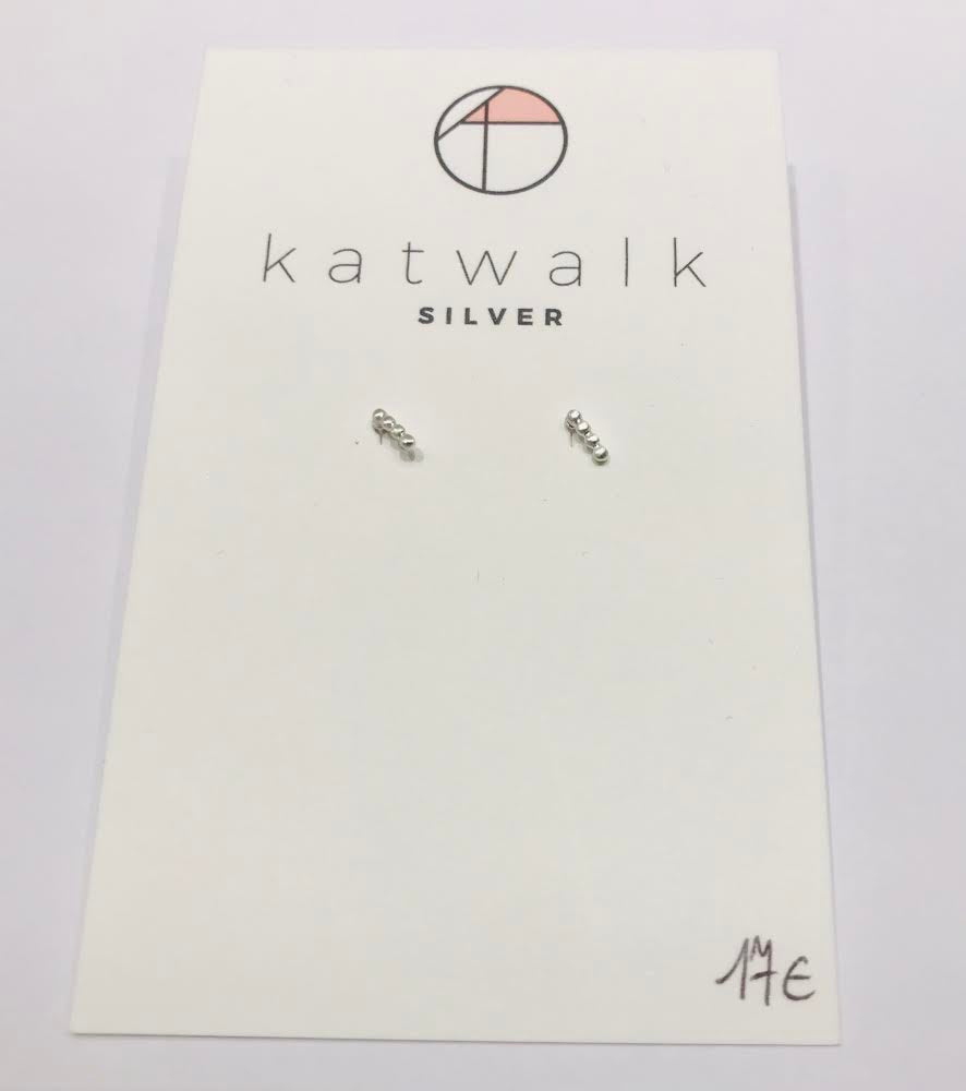 Katwalk small silver stud earrings