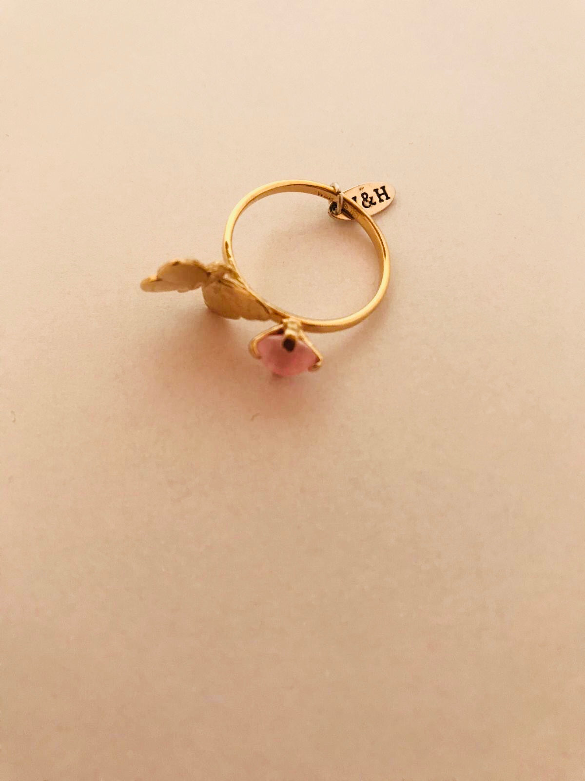 Wouters & Hendrix - goldplated butterfly ring rose crystal