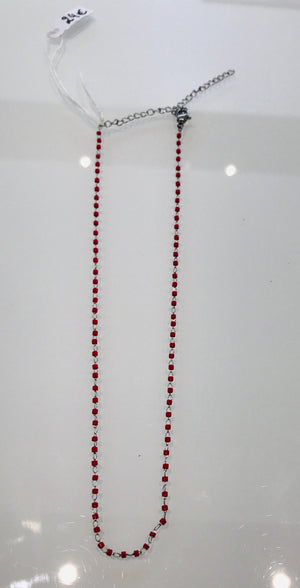 Sam&Cel - red resin & silver necklace