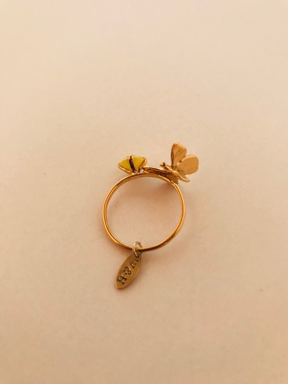 Wouters & Hendrix - gold plated silver butterfly ring yellow crystal
