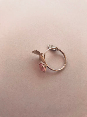 Wouters & Hendrix - silver butterfly ring with rose crystal
