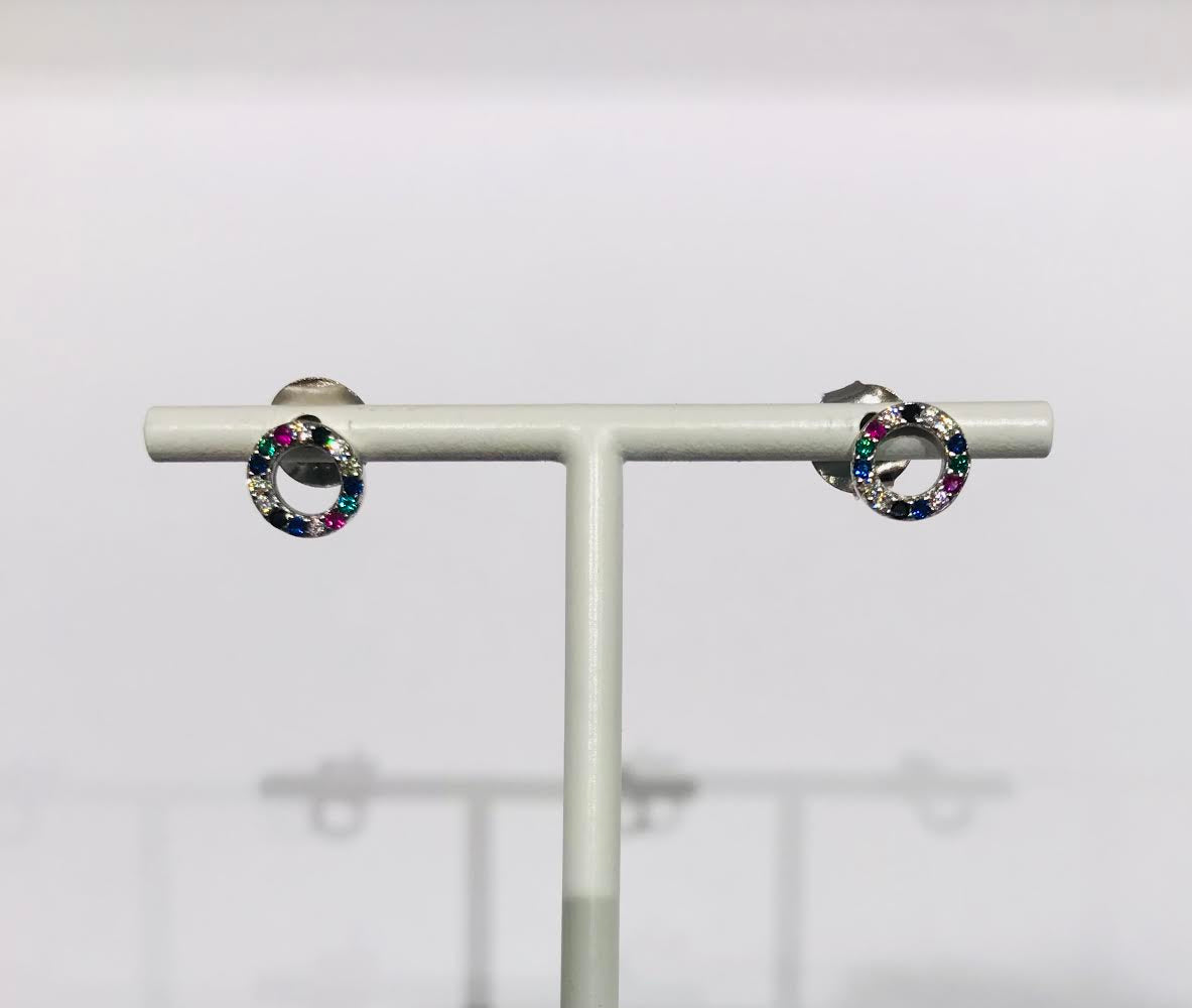 SAM&CEL - silver circle studs with colour-zirconia