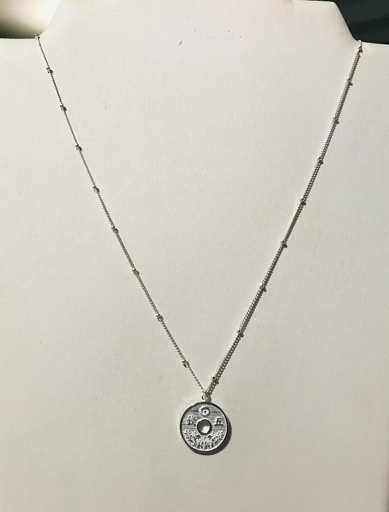 SAM&CEL - long silver coin necklace