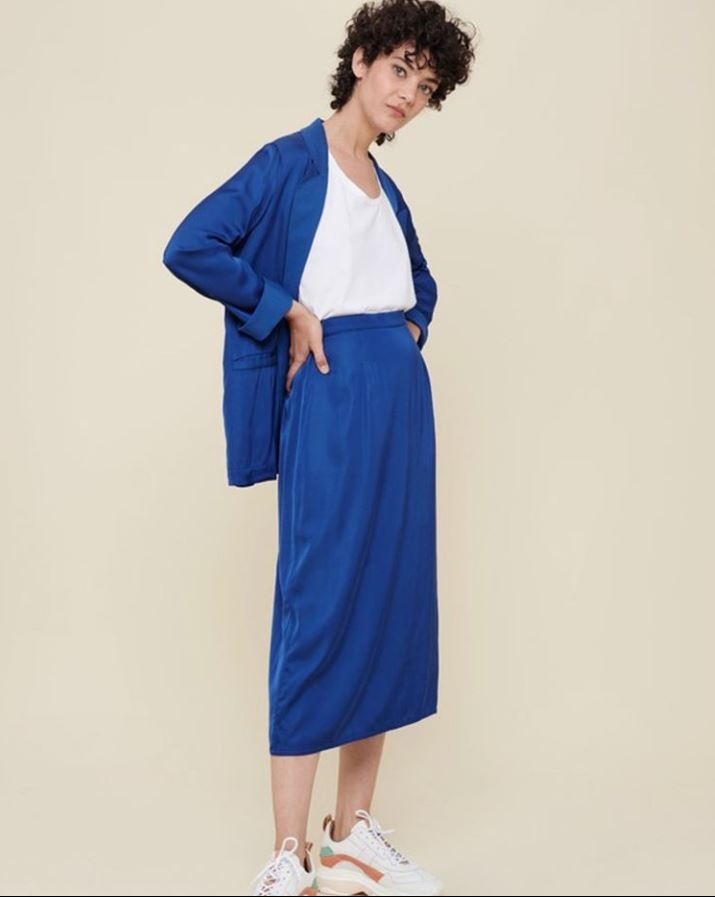 Acoté - blue satin long skirt Abyss