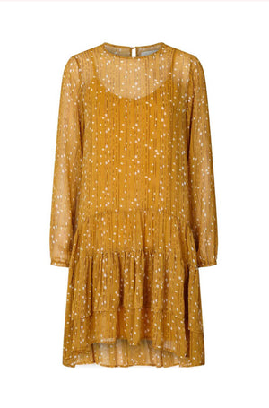 Lollys Laundry Piper dress mustard and beige