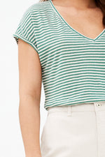 By-Bar - mila linen agave green stripe top